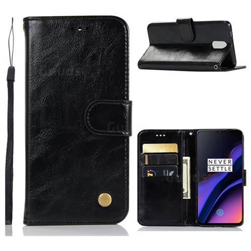 Luxury Retro Leather Wallet Case for OnePlus 6T - Black