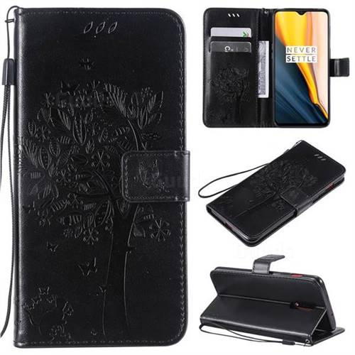 Embossing Butterfly Tree Leather Wallet Case for OnePlus 6T - Black