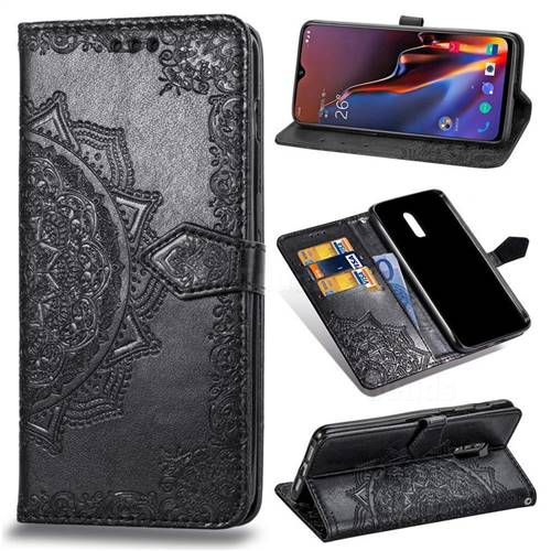 Embossing Imprint Mandala Flower Leather Wallet Case for OnePlus 6T - Black