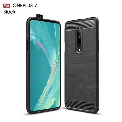 Luxury Carbon Fiber Brushed Wire Drawing Silicone TPU Back Cover for OnePlus 7 - Black