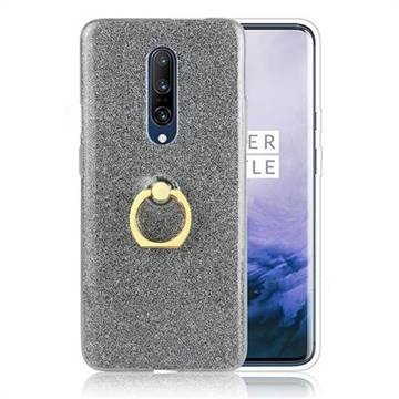 Luxury Soft TPU Glitter Back Ring Cover with 360 Rotate Finger Holder Buckle for OnePlus 7 - Black