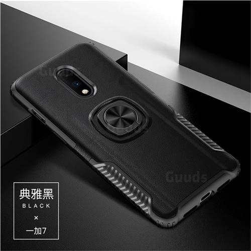 Knight Armor Anti Drop PC + Silicone Invisible Ring Holder Phone Cover for OnePlus 7 - Black