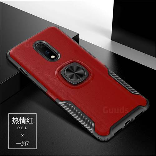 Knight Armor Anti Drop PC + Silicone Invisible Ring Holder Phone Cover for OnePlus 7 - Red