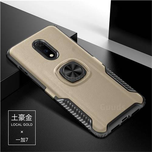 Knight Armor Anti Drop PC + Silicone Invisible Ring Holder Phone Cover for OnePlus 7 - Champagne
