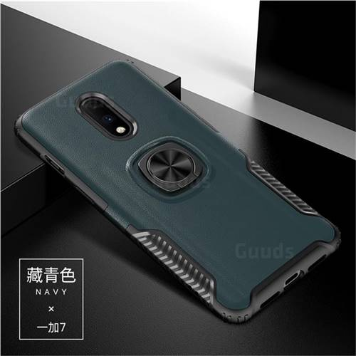 Knight Armor Anti Drop PC + Silicone Invisible Ring Holder Phone Cover for OnePlus 7 - Navy