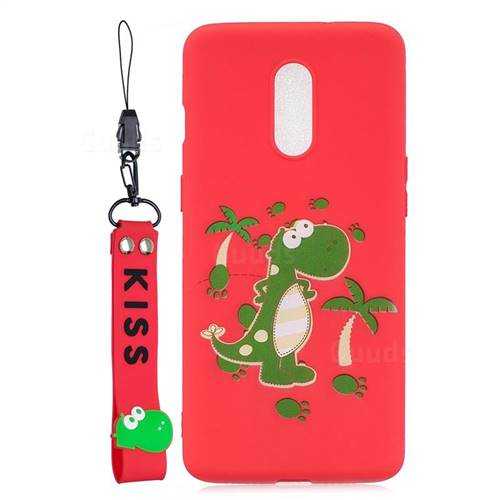 Red Dinosaur Soft Kiss Candy Hand Strap Silicone Case for OnePlus 7