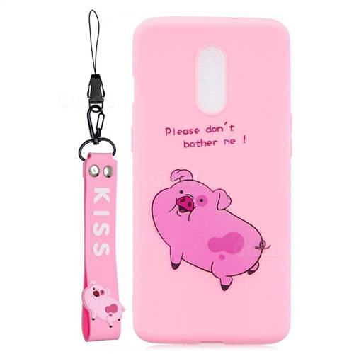 Pink Cute Pig Soft Kiss Candy Hand Strap Silicone Case for OnePlus 7