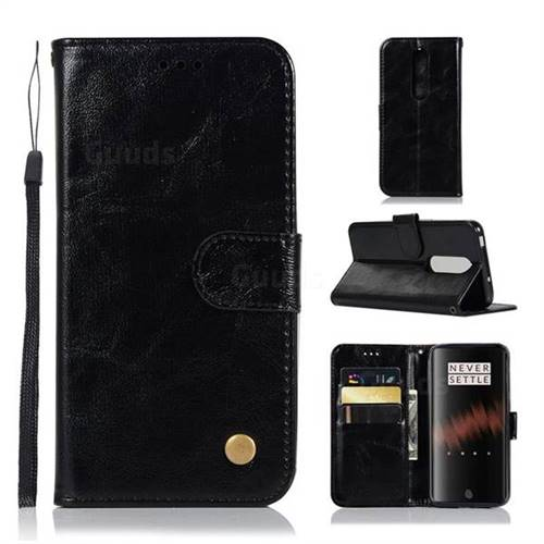 Luxury Retro Leather Wallet Case for OnePlus 7 - Black