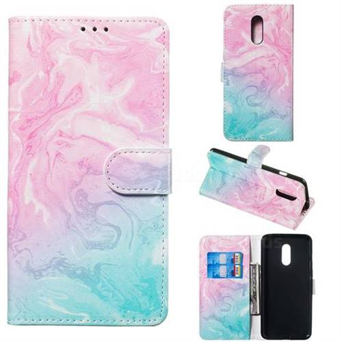 Pink Green Marble PU Leather Wallet Case for OnePlus 7