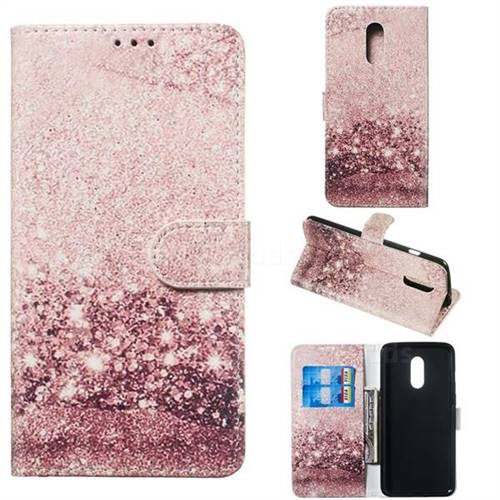Glittering Rose Gold PU Leather Wallet Case for OnePlus 7