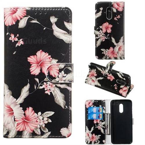 Azalea Flower PU Leather Wallet Case for OnePlus 7