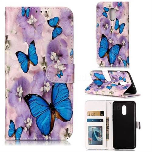Purple Flowers Butterfly 3D Relief Oil PU Leather Wallet Case for OnePlus 7