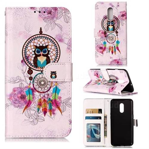 Wind Chimes Owl 3D Relief Oil PU Leather Wallet Case for OnePlus 7
