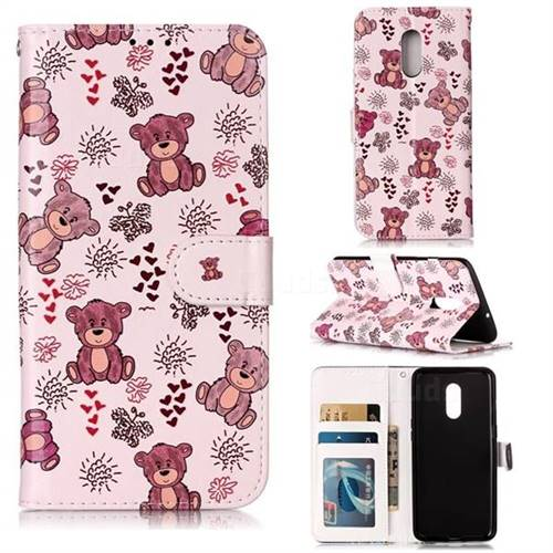 Cute Bear 3D Relief Oil PU Leather Wallet Case for OnePlus 7