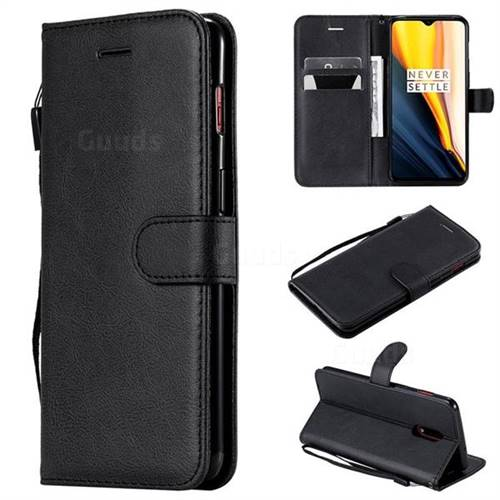 Retro Greek Classic Smooth PU Leather Wallet Phone Case for OnePlus 7 - Black