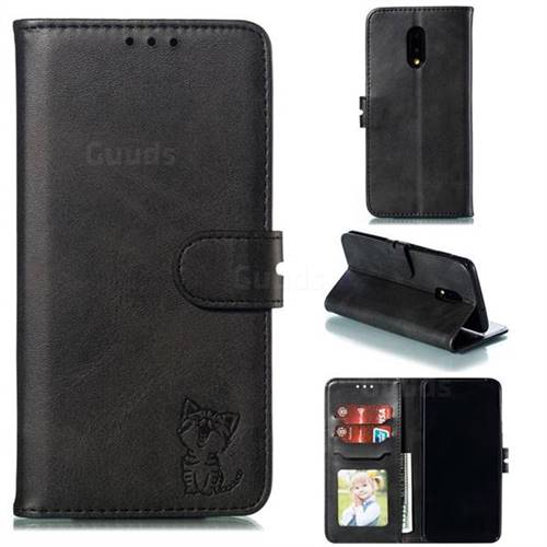 Embossing Happy Cat Leather Wallet Case for OnePlus 7 - Black