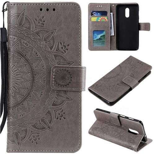 Intricate Embossing Datura Leather Wallet Case for OnePlus 7 - Gray