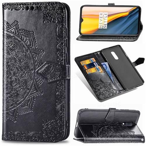 Embossing Imprint Mandala Flower Leather Wallet Case for OnePlus 7 - Black