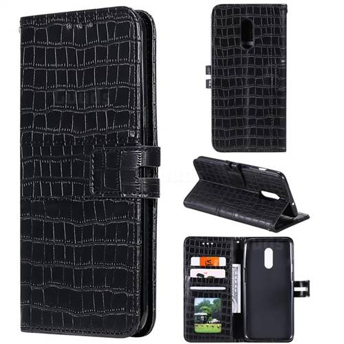 Luxury Crocodile Magnetic Leather Wallet Phone Case for OnePlus 7 - Black