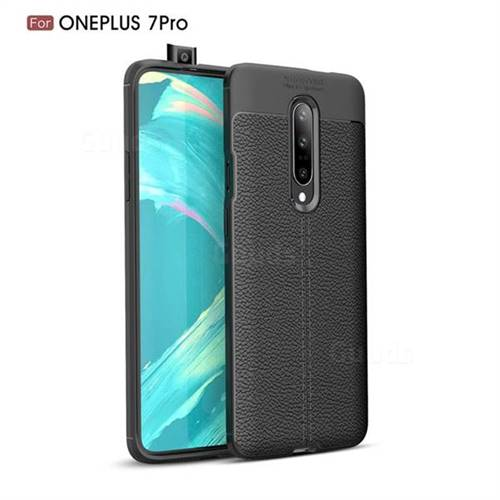 Luxury Auto Focus Litchi Texture Silicone TPU Back Cover for OnePlus 7 Pro - Black