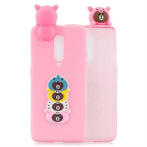 Expression Bear Soft 3D Climbing Doll Soft Case for OnePlus 7 Pro