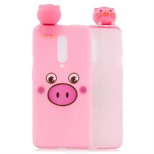 Small Pink Pig Soft 3D Climbing Doll Soft Case for OnePlus 7 Pro
