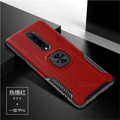 Knight Armor Anti Drop PC + Silicone Invisible Ring Holder Phone Cover for OnePlus 7 Pro - Red
