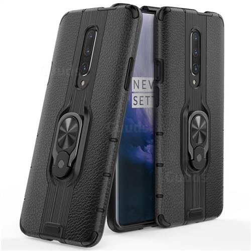 Alita Battle Angel Armor Metal Ring Grip Shockproof Dual Layer Rugged Hard Cover for OnePlus 7 Pro - Black