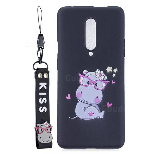 Black Flower Hippo Soft Kiss Candy Hand Strap Silicone Case for OnePlus 7 Pro
