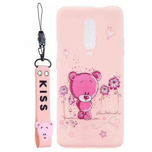 Pink Flower Bear Soft Kiss Candy Hand Strap Silicone Case for OnePlus 7 Pro