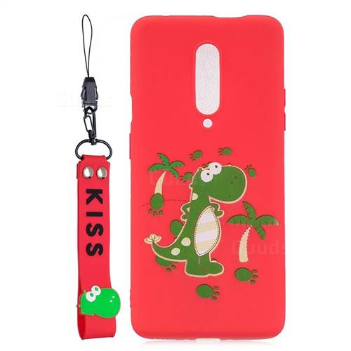 Red Dinosaur Soft Kiss Candy Hand Strap Silicone Case for OnePlus 7 Pro