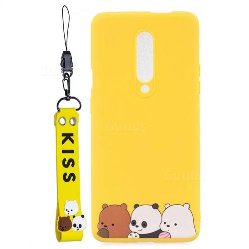 Yellow Bear Family Soft Kiss Candy Hand Strap Silicone Case for OnePlus 7 Pro