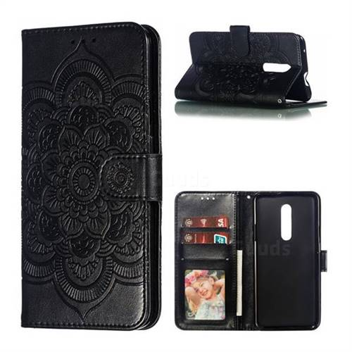 Intricate Embossing Datura Solar Leather Wallet Case for OnePlus 7 Pro - Black