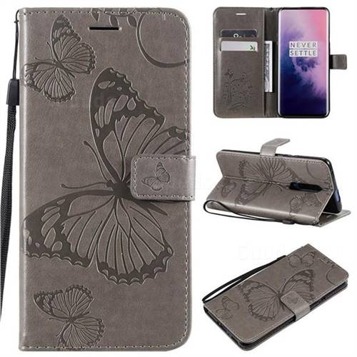 Embossing 3D Butterfly Leather Wallet Case for OnePlus 7 Pro - Gray