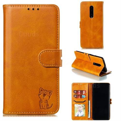 Embossing Happy Cat Leather Wallet Case for OnePlus 7 Pro - Yellow