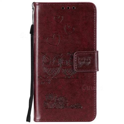 Lomogo Embossed Owl OnePlus 7 Pro Case Leather Wallet Case with Kickstand Card Holder Shockproof Flip Case Cover for OnePlus7 Pro LOHHA100756 Purple