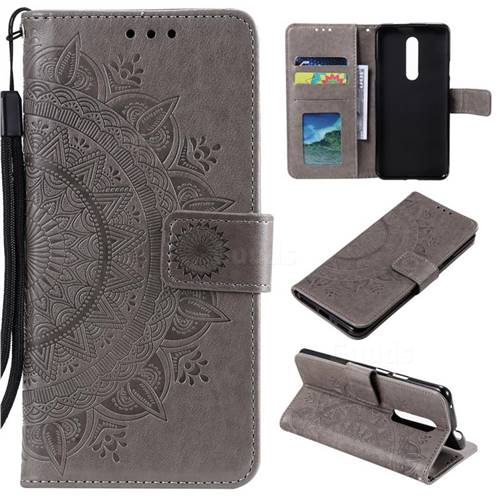 Intricate Embossing Datura Leather Wallet Case for OnePlus 7 Pro - Gray