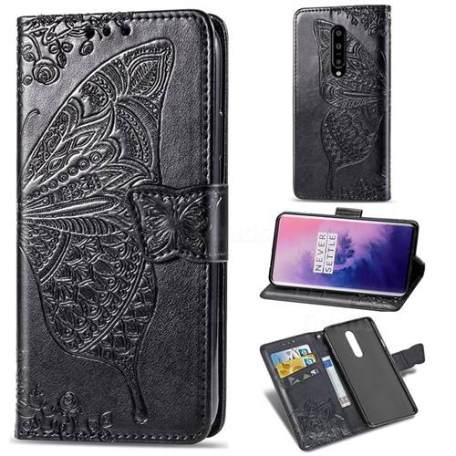Embossing Mandala Flower Butterfly Leather Wallet Case for OnePlus 7 Pro - Black