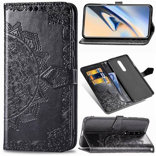 Embossing Imprint Mandala Flower Leather Wallet Case for OnePlus 7 Pro - Black