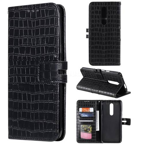 Luxury Crocodile Magnetic Leather Wallet Phone Case for OnePlus 7 Pro - Black