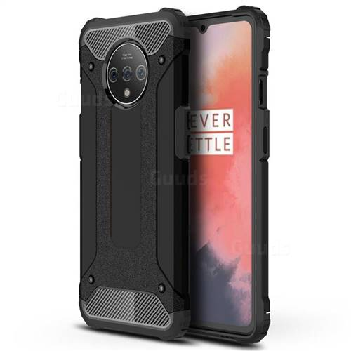 King Kong Armor Premium Shockproof Dual Layer Rugged Hard Cover for OnePlus 7T - Black Gold