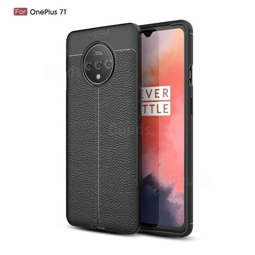 Luxury Auto Focus Litchi Texture Silicone TPU Back Cover for OnePlus 7T - Black