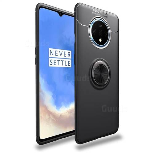 Auto Focus Invisible Ring Holder Soft Phone Case for OnePlus 7T - Black