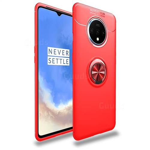 Auto Focus Invisible Ring Holder Soft Phone Case for OnePlus 7T - Red