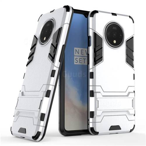 Armor Premium Tactical Grip Kickstand Shockproof Dual Layer Rugged Hard Cover for OnePlus 7T - Silver
