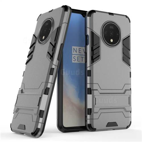 Armor Premium Tactical Grip Kickstand Shockproof Dual Layer Rugged Hard Cover for OnePlus 7T - Gray