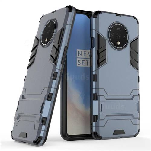 Armor Premium Tactical Grip Kickstand Shockproof Dual Layer Rugged Hard Cover for OnePlus 7T - Navy