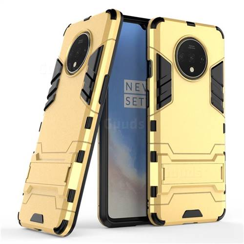 Armor Premium Tactical Grip Kickstand Shockproof Dual Layer Rugged Hard Cover for OnePlus 7T - Golden