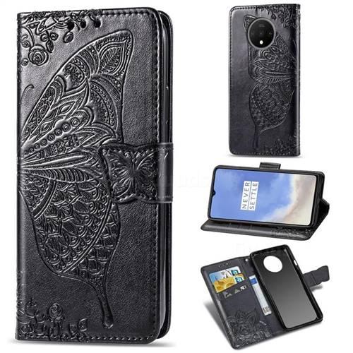Embossing Mandala Flower Butterfly Leather Wallet Case for OnePlus 7T - Black