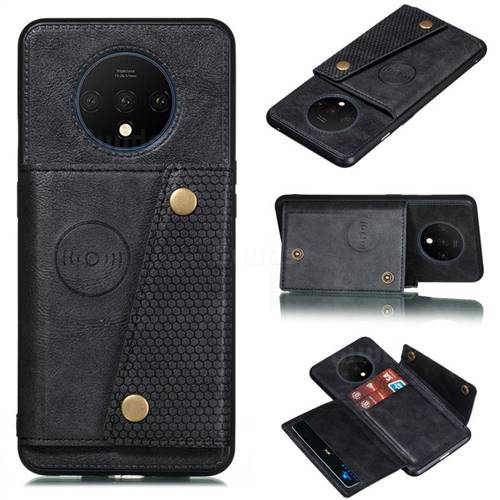 Retro Multifunction Card Slots Stand Leather Coated Phone Back Cover for OnePlus 7T - Black